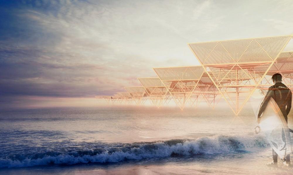 Une maison de plage éphémère, qui va et vient comme une vague