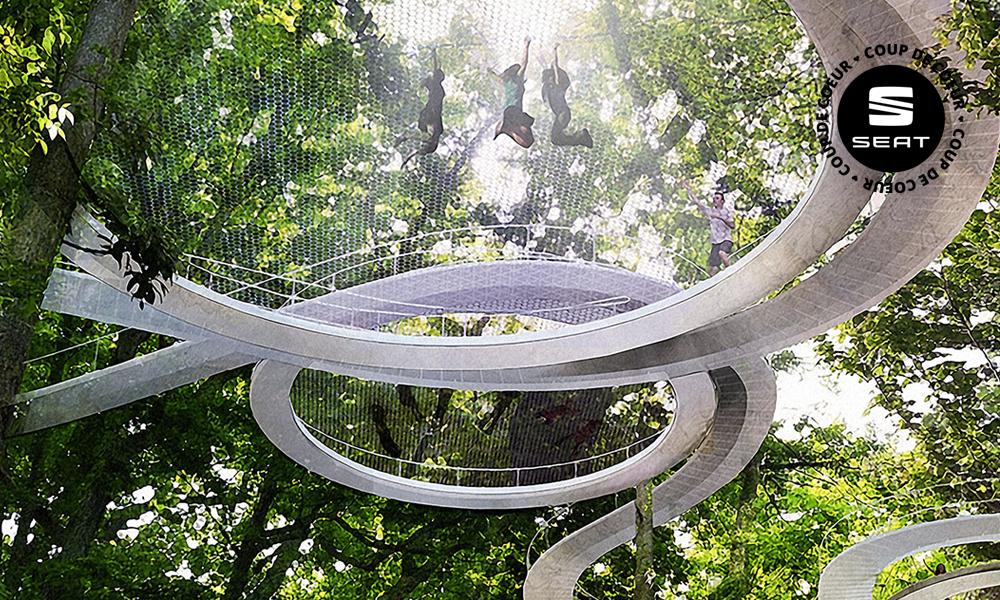 Un parc forestier lié par... des trampolines !