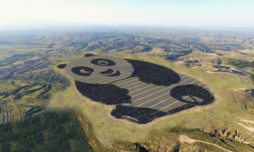 Une centrale solaire en forme de panda géant ? Affirmatif !