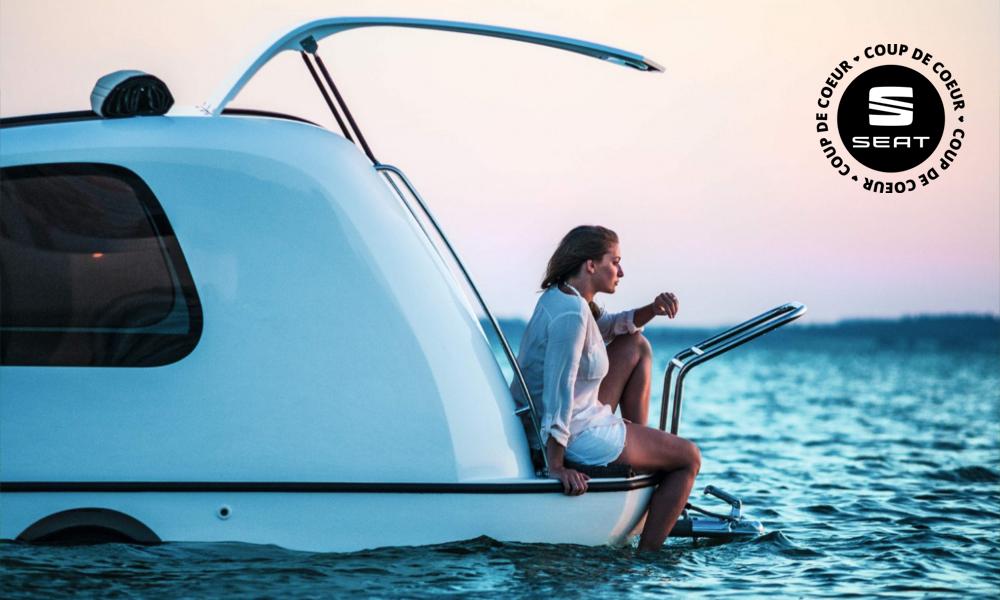 Campez sur l'eau dans cette caravane amphibie