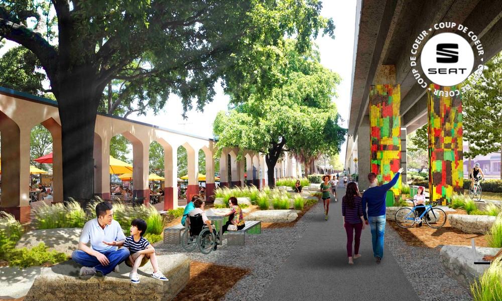 Un parc urbain tropical pousse sous le métro de Miami