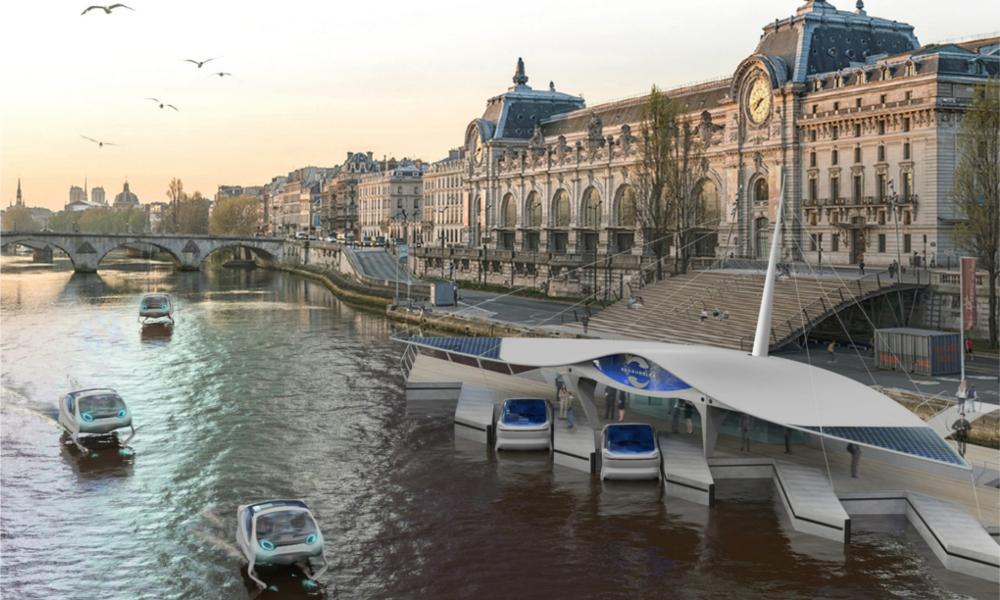 La voiture flottante de Seabubbles arrive finalement à Paris