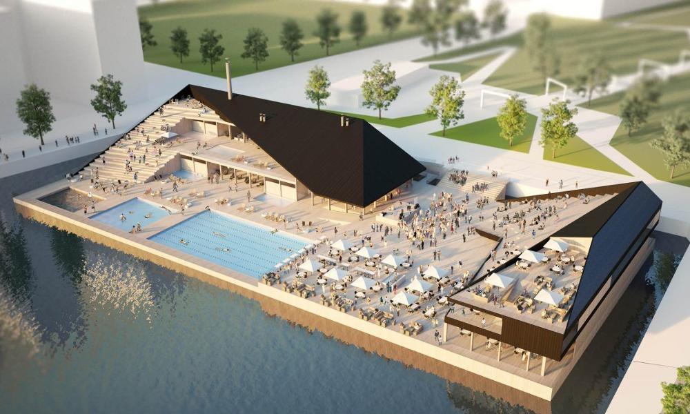 Une piscine flottante qui s'adapte à toutes les villes et toutes les chaleurs