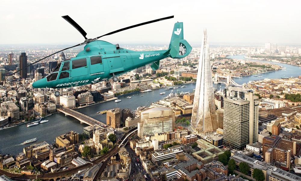 Deliveroo inaugure les livraisons de burgers en hélicoptère