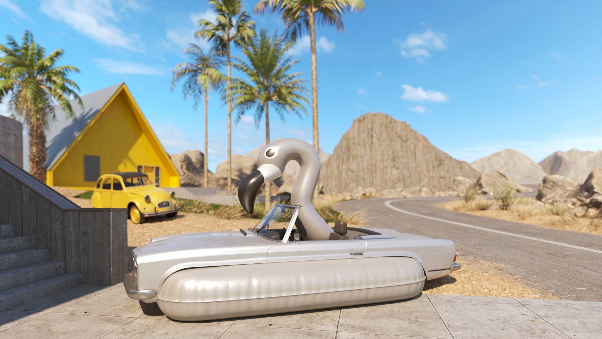 Pour le plaisir, il transforme les voitures en grosses bouées de piscine