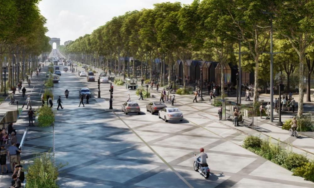 Moins de voitures et plus d'arbres : un aperçu des Champs-Élysées en 2030
