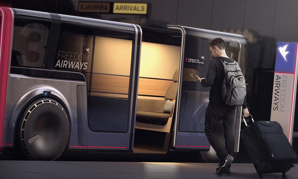 Flux, une navette autonome où l'on peut s'isoler des autres passagers