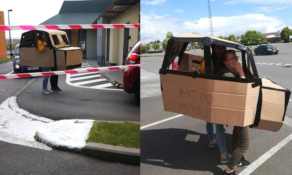 Histoire belge : elle fabrique une voiture en carton pour emmener ses enfants au drive du McDo