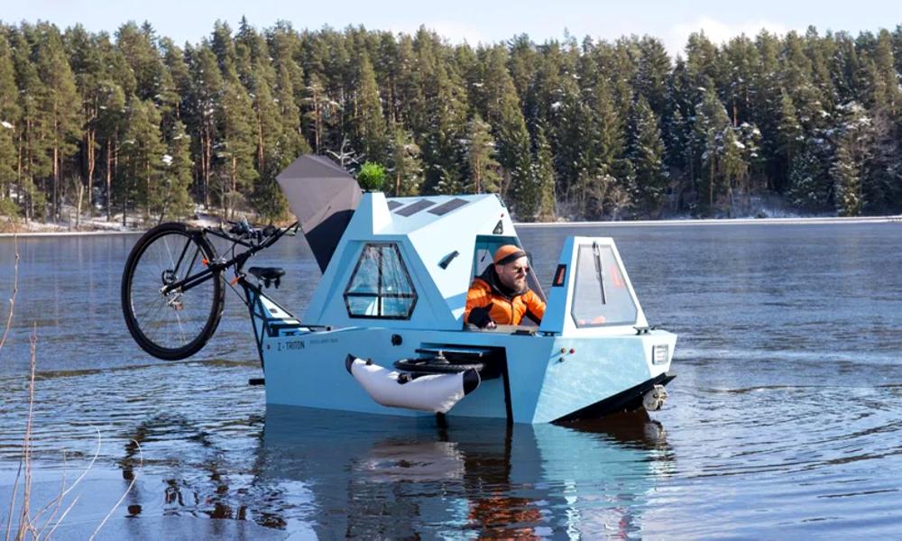 Le Z-Triton, un vélo-caravane qui se transforme en bateau