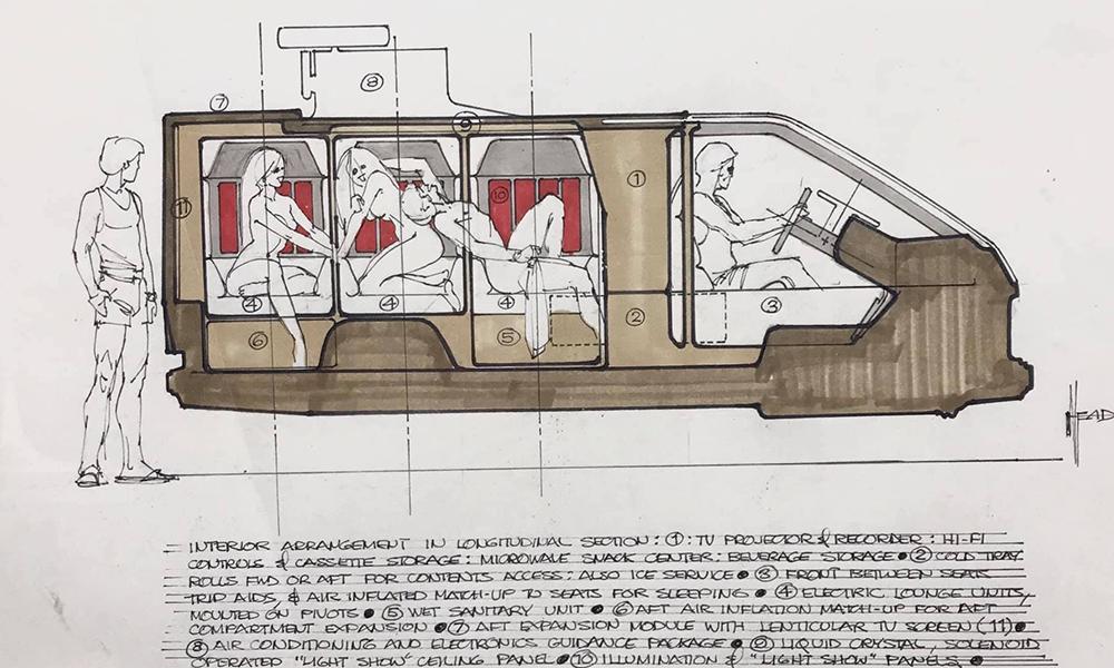 En 1975, il imaginait la voiture parfaite… pour faire l'amour