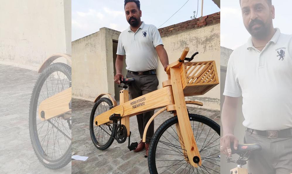 Confiné, cet Indien construit des vélos avec du bois recyclé