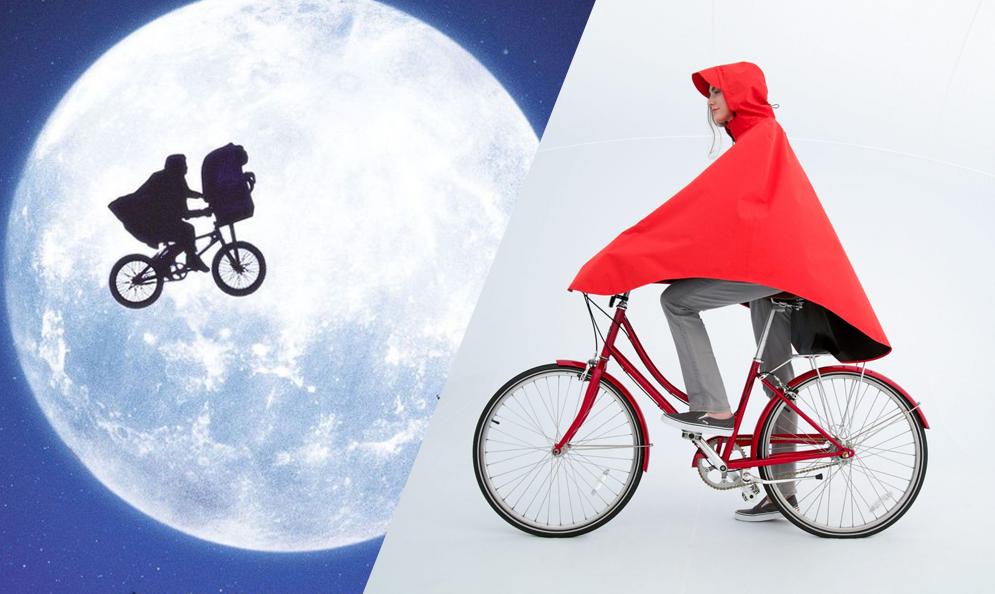 Cette cape de pluie pour cycliste est clairement inspirée par E.T.