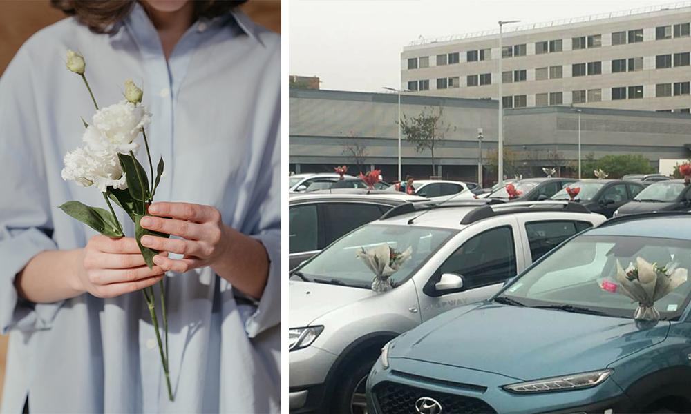 Covid-19 : cette fleuriste dépose ses invendus sur les voitures des soignants