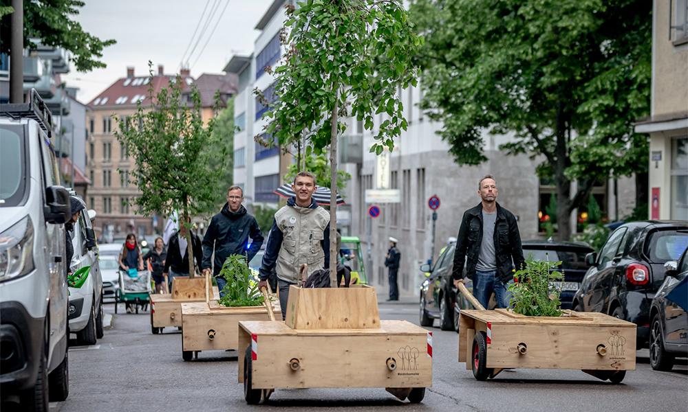 En Allemagne, les habitants profitent du week-end pour se balader avec… leurs arbres