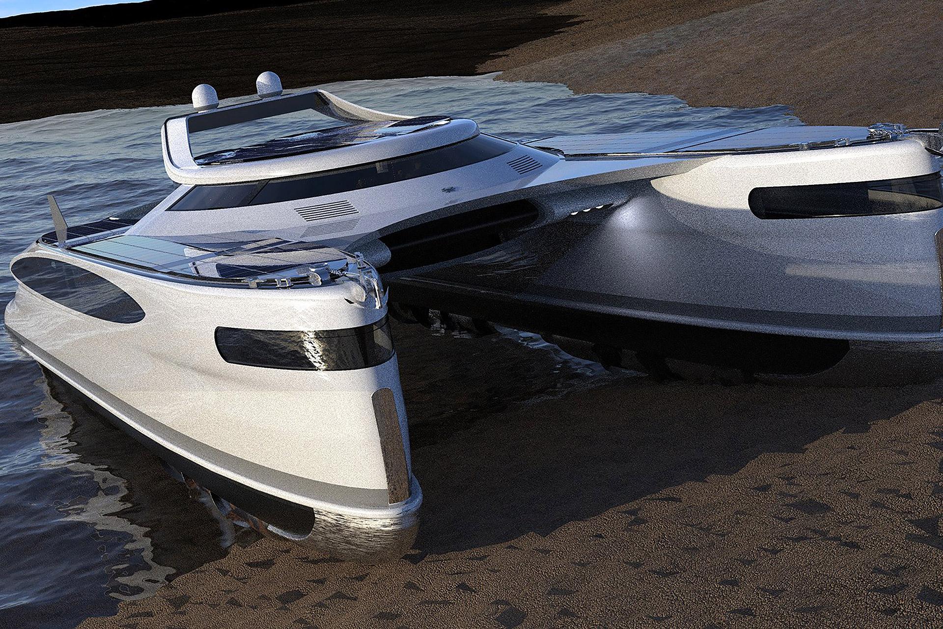 """Voici le """"crabmaran"""", un yacht géant et solaire qui roule aussi sur terre"""