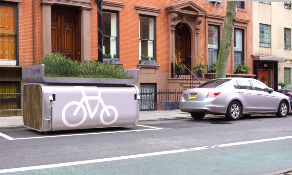 Avec cette capsule, on peut garer 10 vélos à la place d'une seule voiture