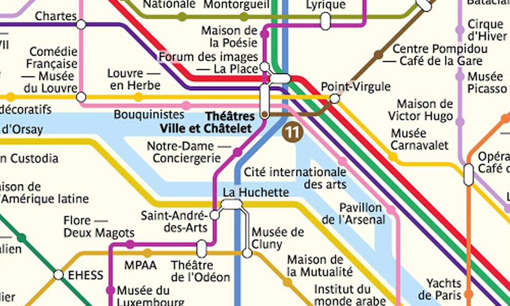 Génie : il remplace chaque arrêt de la carte du métro parisien par des lieux culturels