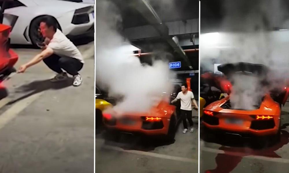 Il flingue sa Lamborghini en faisant cuire des saucisses sur le pot d'échappement