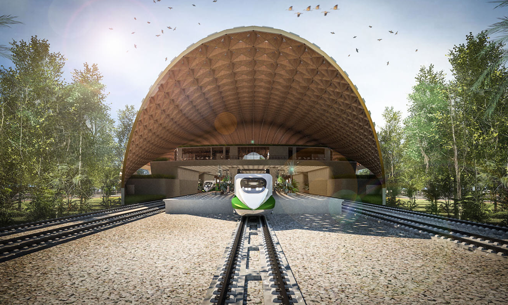 Au Mexique, cette gare futuriste s'inspire des anciennes cités mayas