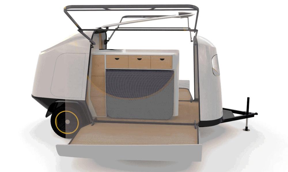 Une caravane de 12 m² se cache dans cette mini-remorque